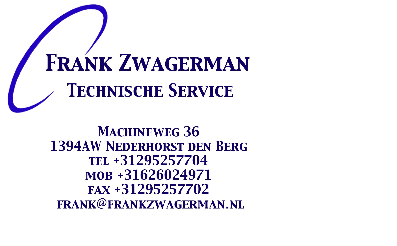 Frank Zwagerman, Technische service